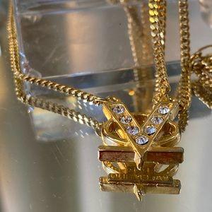 Valentino Garavani Gold Tone Logo Necklace